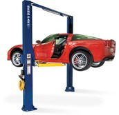 Corvette on a two-post lift