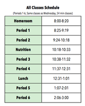 MS All Classes Schedule Tuesday!
