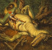 Beowulf stabbing the dragon