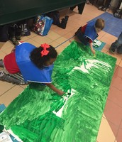 Painting the scenery for the play