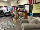 Our classroom library and sitting area