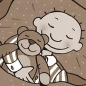 Hij kruipt in bed met zijn beer!