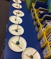 We created them with paper plates, pencils, and clay.
