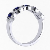 Sapphire and Diamond Halo Ring in White Gold