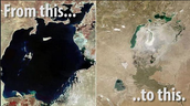 The Aral Sea in 1960s on the left side to 2009s on the right side!