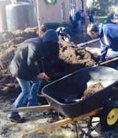 Me gathering soil