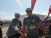 Harry Graham riding in a tandem bike race with Dan Koppin