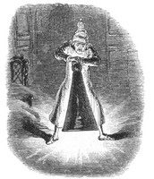 Scrooge extinguishing the ghost.