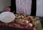 Fruit Kebabs with Vanilla Yogurt