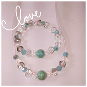 Glass Ribbon Necklace and Bracelet Set