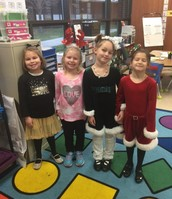 The girls dressed in holiday style.