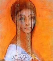 Donna velata, Redon, 1895