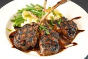 Lamb Chops w/ scalloped potatoes and string beans