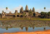 This is Angkor Wat  a very famous temple in Cambodia wich is a famous tourist attraction.