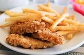 El pollo y los papas fritas