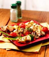 Lemon Scallion Chicken & Vegetable Kabobs