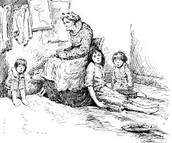 Cartoon Family in Poverty