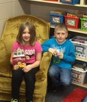 Melia traded in  Tiger Tickets to read to her brother's class!