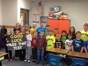 Mrs. Obermeyer's kindergarten students wished Ms. Holt's third graders good luck
