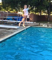 Dylan's first time on a diving board!