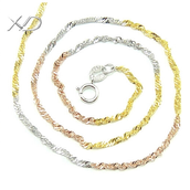 sterling silver with Tri-color Necklace
