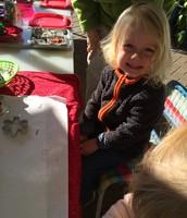 Aldous preparing to make peppermint ornaments