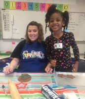 Crafting in kindergarten with Mrs. Horne for Ms.. Brown's students