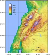 Physical Map of Lebanon