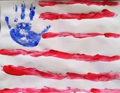 Had fun finger painting the USA flag