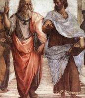Aristotle with his Friend Plato