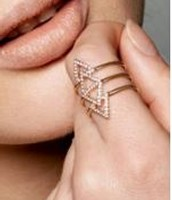 Rose Gold Pave Chevron Ring M/L (7-9) $20