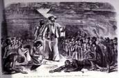 Slaves in hold of slaving ship.