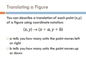 We are writing the rule for the transformations using algebraic notation.