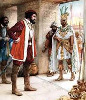 Hernando Speaking to the Aztec emperor
