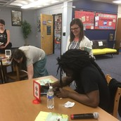 Jason Reynolds signing books after his presentation on April 20th