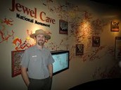 Ranger in front of Interactive Jewel Cave map