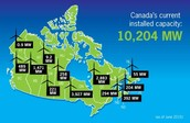 Canada's Wind Power Capacity (as of June 2015) by Province