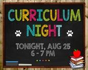 Curriculum Night is TONIGHT!
