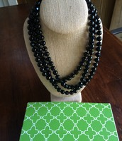 Jet Faceted Necklace- black