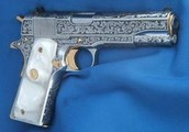 Engraved Colt 1911 Pearl Grips