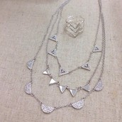 Pave Chevron Ring $29 and Necklace in SILVER $79