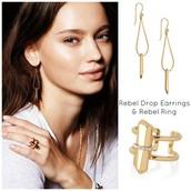 Rebel Deco Earrings & Rebel Ring