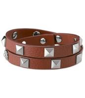 Pyramid Double Wrap Leather Bracelet (Cognac) $18