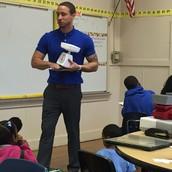Mr. Morgan setting students up to begin exploring various measurement tools