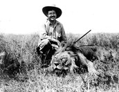 Posing with a lion
