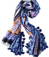 Capri Cotton Wrap / Scarf - Moroccan Tile - $30