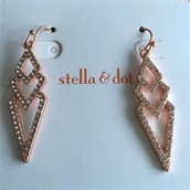 Pave spear rose gold earrings