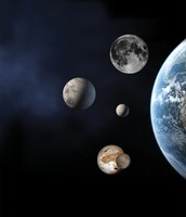 Dwarf planets compared to Earth and the Moon-