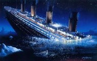 The Titanic While it Was Sinking