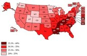 2007 Map of the US and obesity rates